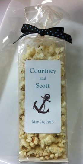 Custom popcorn favors by Popsations Popcorn Company.