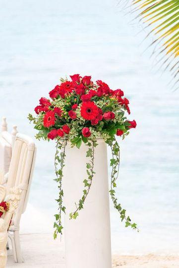Wedding isle flower arrangement