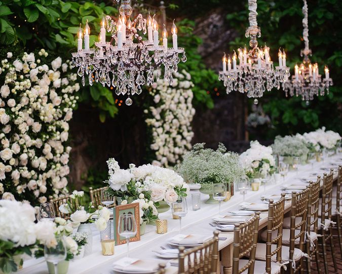 Table setup and candle light chandelier
