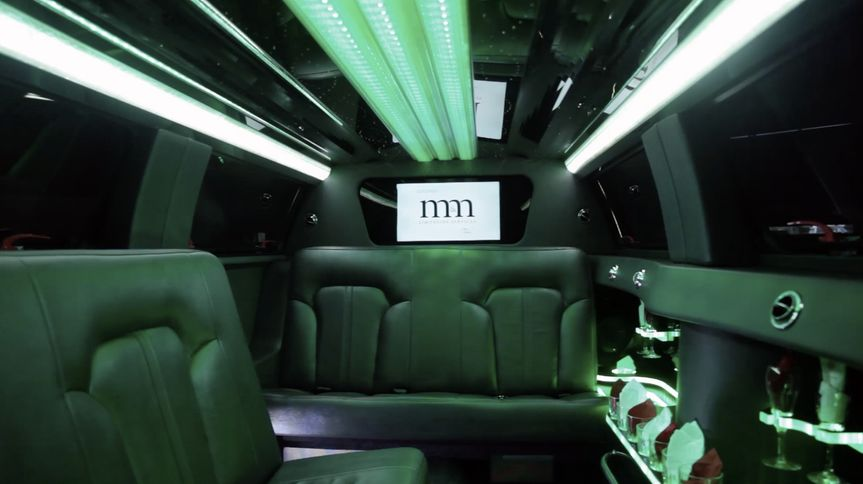 Limo's interior with green lights