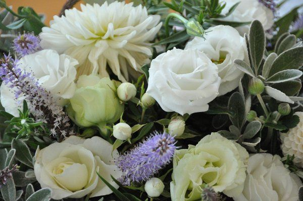 Garden Dahlias, Japanese Anemones, Lisianthus,  Rosemary and fresh Summer greens
