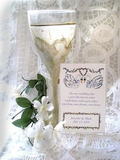 Sample  Wedding/Bridal design (Two Swans) shown on Personalized Flower Seed packet wedding favor.