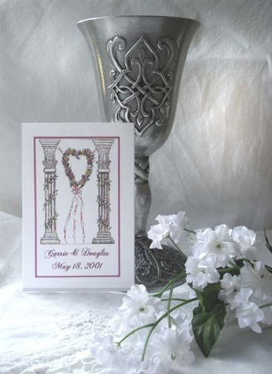 Sample  Wedding/Bridal design (Two Grecian/Roman type Columns with Heart) shown on Personalized...