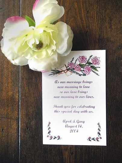 Sample  Wedding/Bridal design (Bouquet of Roses) shown on Personalized  Flower Seed packet wedding...