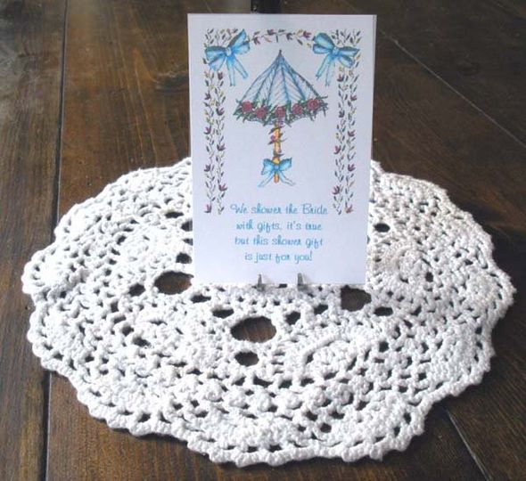 Sample  Bridal Shower design (Blue Umbrella with Roses) shown on Personalized Flower Seed packet...