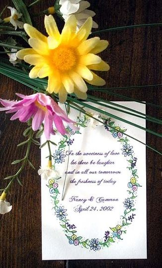 Sample  Wedding/Bridal design (Oval border of assorted flowers) shown on Personalized Flower Seed...