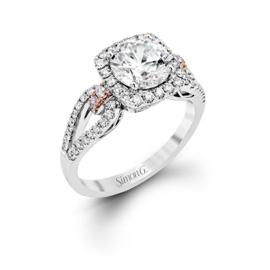 Style MR1828  The delicate romantic design of this vintage inspired white and rose gold...