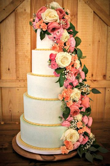 isabelle and jessie 1 blue gold wedding cake butter cream wedding cake fresh flower wedding cake ombre wedding cake 5 tier wedding the fancy cake box 51 908431 161538010331431