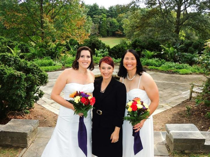 Two beautiful brides on their wedding day