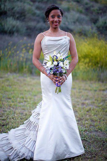 Bride with Bouquet - Ebony Online Wedding