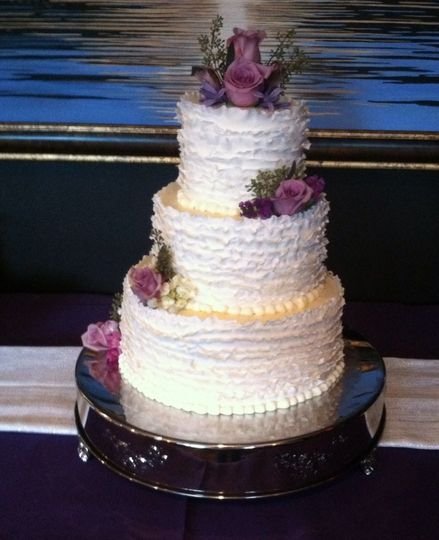 Purple rose decorated cake