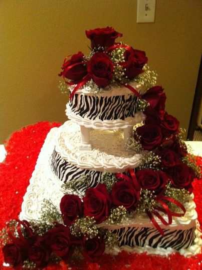 zebra cake with real red rose
