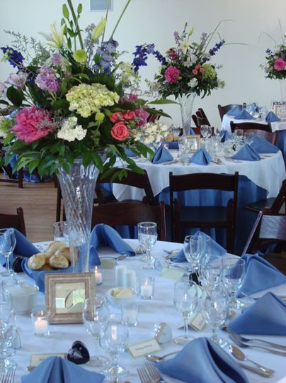 Blue table setup with centerpiece