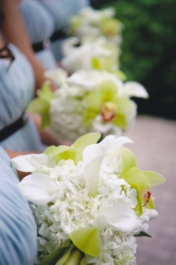 Bridesmaid's bouquets with cymbid orchids, hydrangea and calla lilies