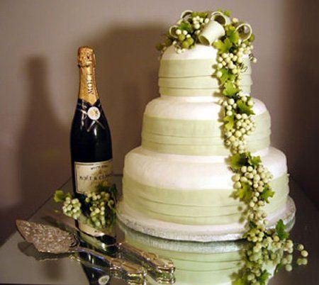 White cake with vine decoration