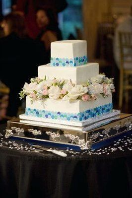 White cake with blue accents
