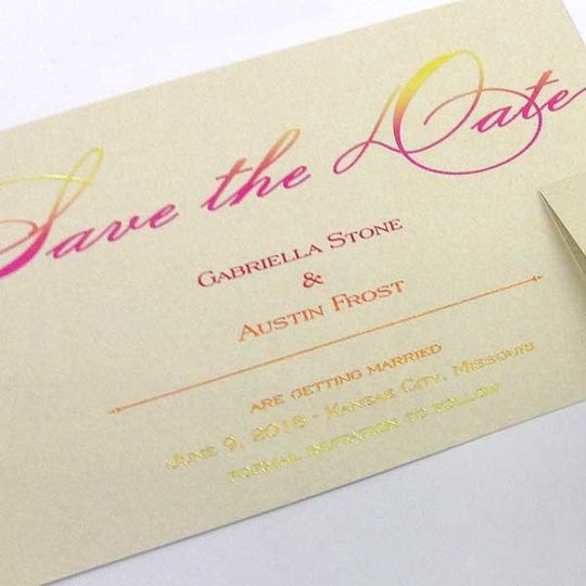 Save the date in pink and yellow