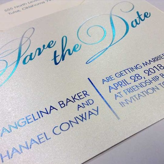 Save the date in blue