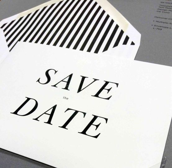 Save the date in black and white