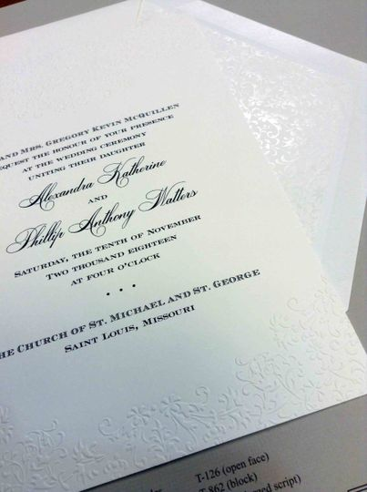 Embossed invitation with beautiful coordinating liner