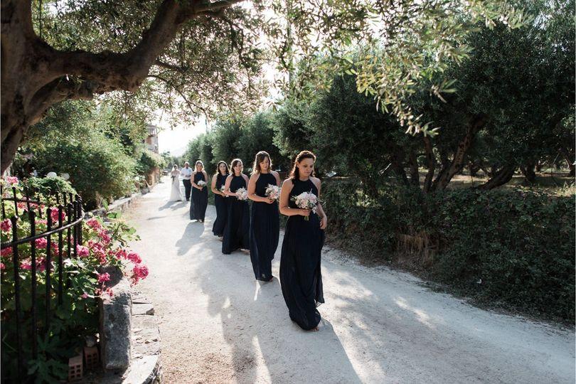 Bridesmaids in navy-blue