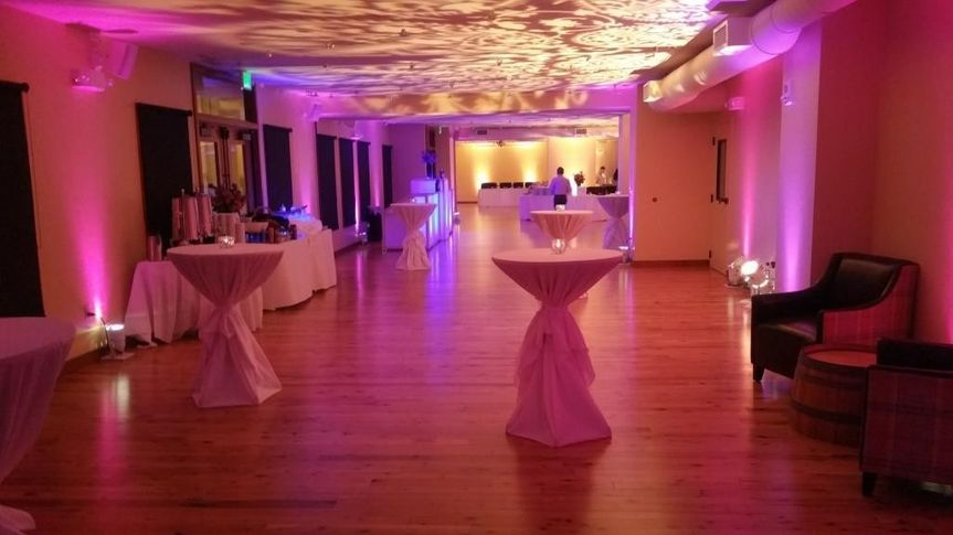 Ballroom with cocktail tables