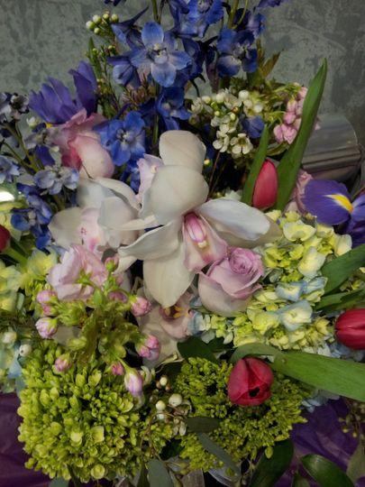 Orchid, peonies, iris flowers