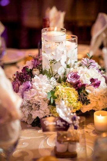 Flowers and candles for table design