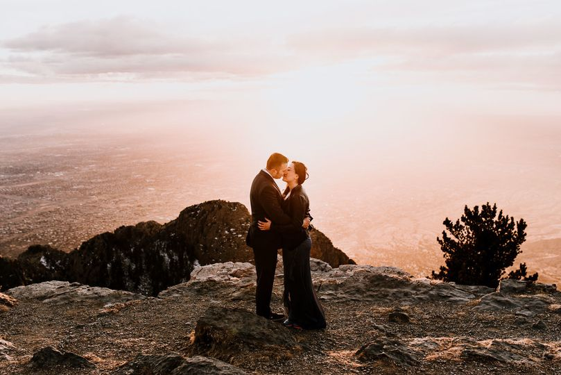 Sandia Mountains cliffside engagement session.