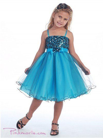 Turquoise Metallic Bodice and Mesh Overlaid Skirt Girl Dress Price: $59.99 Product Code: CA0733BTQ...