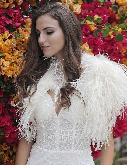 Blaire ostrich feather bolero in cream