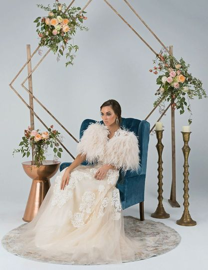 Daphne Ostrich Feather Cape in Champagne