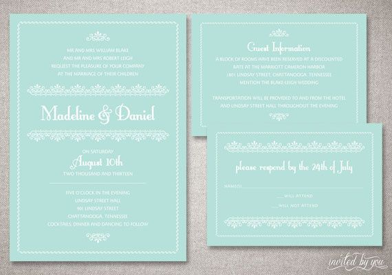 Romantic, Vintage Wedding Invitation Suite in Mint