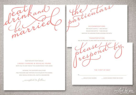 Eat, Drink, And Be Married Calligraphy Wedding Invitation Suite