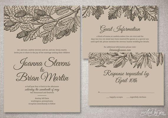 Botanical Kraft Paper Wedding Invitation Suite