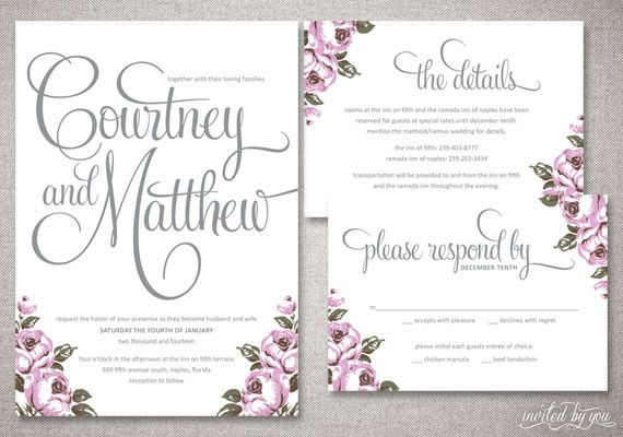 Floral Shabby Chic Wedding Invitation Suite