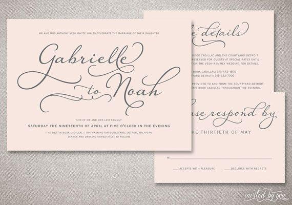 Beautiful Script Wedding Invitation Suite