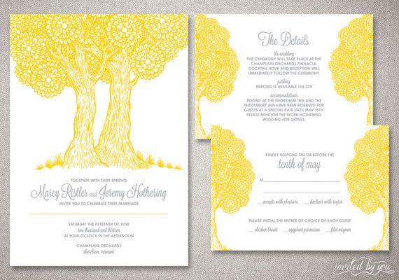 Rustic, Whimsical Tree Wedding Invitation Suite