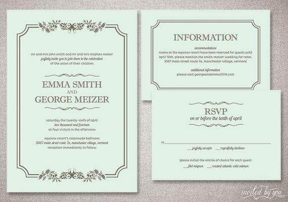 Traditional Rustic, Floral Wedding Invitation Suite