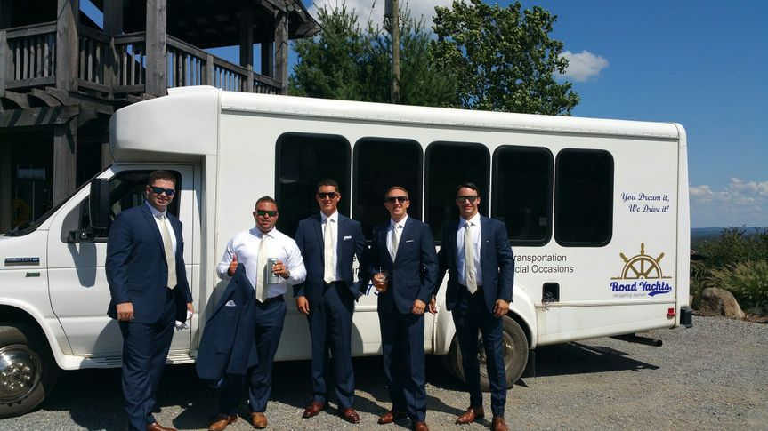 passenger bus wedding photo