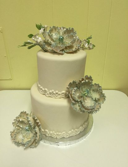 Succulents on 2-tier cake
