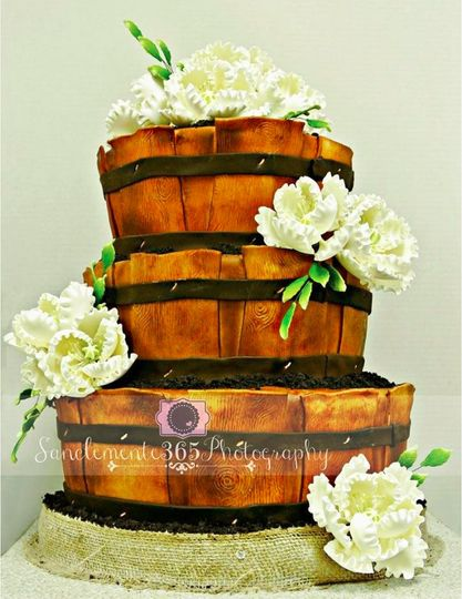 3-tier barrel wedding cake