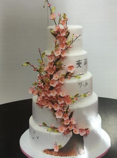 Pink flowers on 5-tier cake