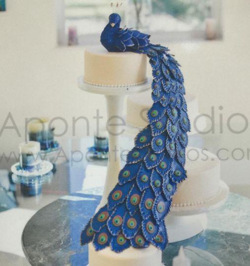 Peacock shaped wedding cake