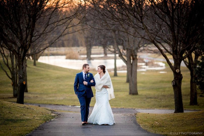 Winter wedding reception held at Arrowhead Golf Club, photograph © Lilly Photography.
