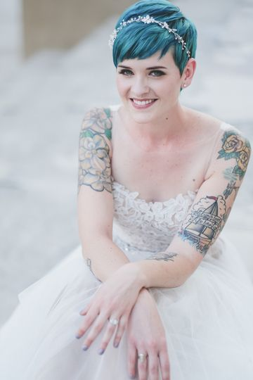 Bride's blue hair