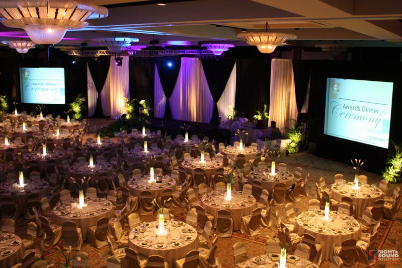 Formal event with lighting and audio visual presentation package