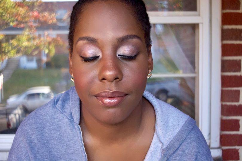 Glowing makeup look