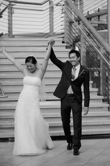 meesha and alex walk down steps yvonne wong phot