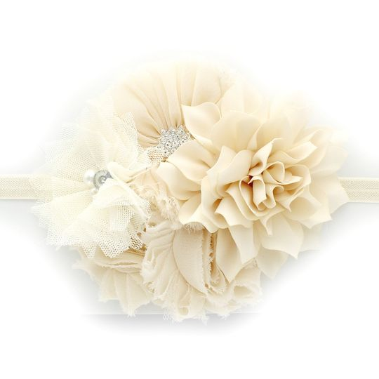 infant ivory large flower cluster headband 1